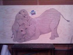 8' Mother & Child Elephant Table before staining