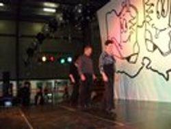 Heather, Rob, Rhonda dancing to A Woman like You