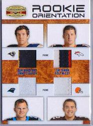 TIM TEBOW COLT MCCOY SAM BRADFORD JIMMY CLAUSEN QUAD PATCH ROOKIE CARD  8/25 P