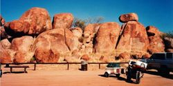 Tom's XJ900 in front of theDevil's Marbels just north of Wauchope NT on the way to 1994 AGM at Alice Springs - April 1994