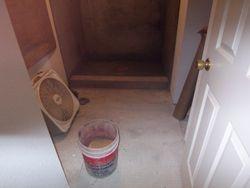 Floated shower floor.