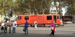 A track maintenance tram passes through Neumarkt.