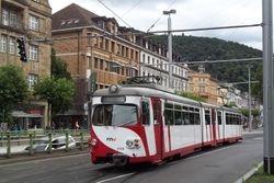A northbound Duewag tram, seen to the south of Bismarckplatz.