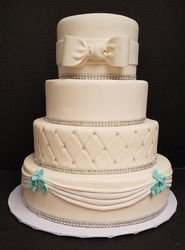 White & teal with quilted and sash