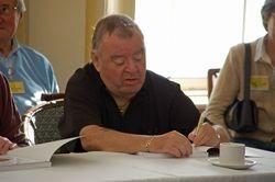 Paul Shane signs an autograph
