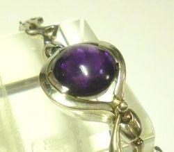 09-00128a Amethyst Cabochon Sterling Link Bracelet