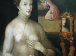 School of Fontainebleau, Woman at Her Mirror, detail, 1550-70, Worchester