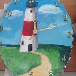Hand Painted Sankaty Light House Clock