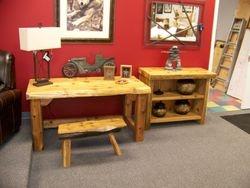 Cedar desk and matching shelf