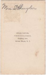 Edgar Raynor, photographer of River Head, Long Island, New York - back