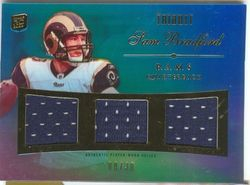 SAM BRADFORD JERSEY ROOKIE CARD RELIC 2010 TOPPS TRIBUTE 8/20