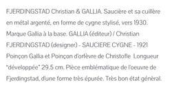Description Saucère cygne Gallia Christofle de c.Fjerdings