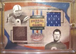 2005 Donruss Playoff Leaf Certified Fabric  Of The Game Thorpe/Unitas Game Used Card
