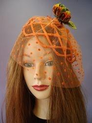 Vintage Orange Birdcage Veil Fascinator