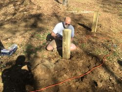 Verne N5IEP notching the corner posts