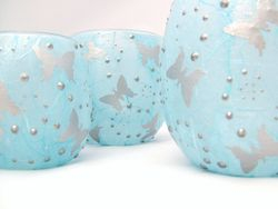 Pale Blue and Silver Butterflies