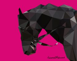 """Black Horse"" - Low Poly Art"
