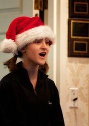 Cast member Cara singing at a nursing home