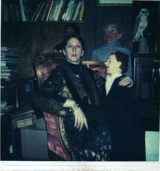 Jilliana in vintage clothes, with Charlie McCarthy vent doll, 1982