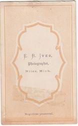 E. B. Ives, photographer of Niles, Michigan - back