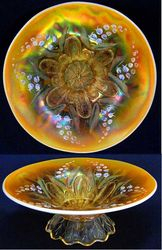 (Enameled) Lily of the Valley on Dugan Stippled Petal dome ftd flared bowl, peach opal