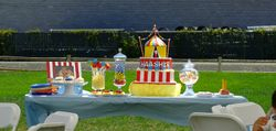 Dessert table for a carnival themed birthday