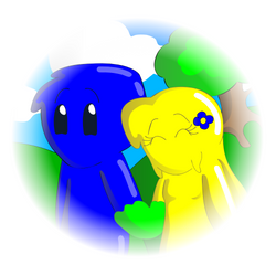 Blue and Yellow Holding Hands