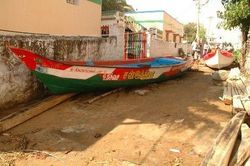Boats in the village streets
