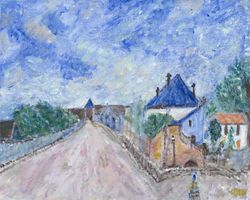 Interpretation of Street in Moret by Alfred Sisley