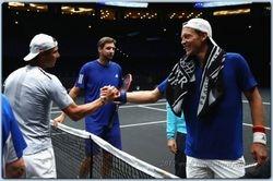 Tomas Berdych greets Rafael Nadal