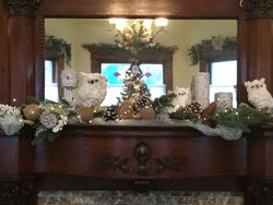 Woodland owls on the mantle