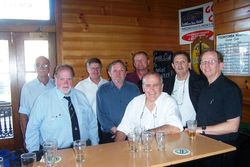 Steve Pieniger, Tom Rundle, Gary Sargent, Daryl Gunn, Brod Bredhauer, Russell Rochford, Steve Cantly, Peter Dove after Bob Hawkshaws funeral