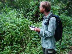 JB Leca looking for ebony langurs during a transect survey in the Prapat Agung peninsula, West Bali National Park (February 2010)