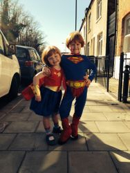Danny's kids about to go to a Super Dan party!