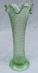 """Diamond Point 8 1/4"""" vase in ice green (light iridescence)"""