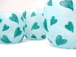 Pale Blue and Teal Meltting Hearts