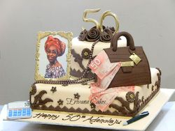 Chocolate brown, gold and cream 50th Birthday cake