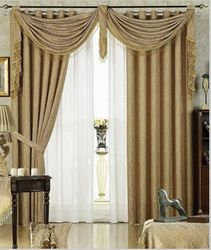 Taupe Crinkle Faux Silk Waterfall Valance