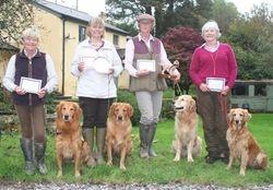 The award winners & their dogs Mary Palk/ Tallygold Blackthorn , Monica Skjerping/ Jacklaines Cornelius Sky, Gerda Comanjen/ Lowly Faffaello & Marion Hanman/Haddeo Teyla