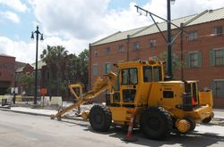 Streetcar line construction scene