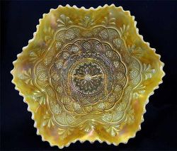 Persian Garden large size ruffled bowl, peach opal