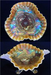 Dugan Cherries ftd tri cornered bowl, peach opal
