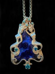 One of a kind agate mermaid pendant with blue diamonds