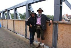 Couple on Stone Bridge in Regensburg