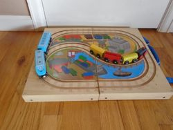 Battat Wooden Train Fold Up Case with Trains - $15
