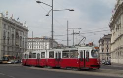 SGP built E2 class tram, in Schwarenbergplatz