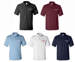 Polo Shirts. Dark Heather, Maroon, Light Blue, White and Navy Blue. - Silk-Screen Logo - DryBlend Fabric 50/50 - 3-Button Placket - Knitted Collar/Cuffs