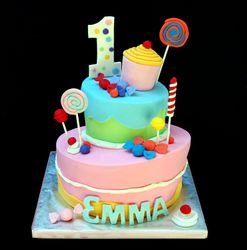 Topsy turvy candyland cake