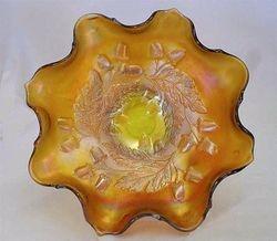"""Acorn 7"""" ruffled bowl - light /yellow amber"""