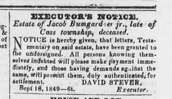 Executor's Notice for the Estate of Jacob Bumgardner, Jr.